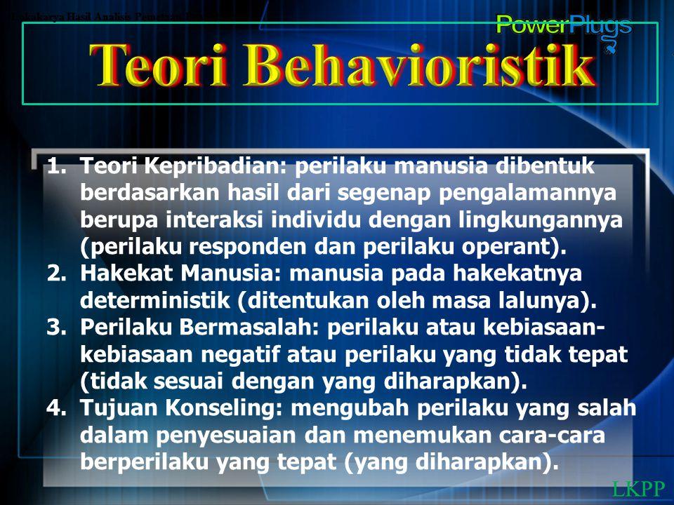 Lokakarya Hasil Analisis Pemetaan Pendidikan 1.Teori Kepribadian: perilaku manusia dibentuk berdasarkan hasil dari segenap pengalamannya berupa intera