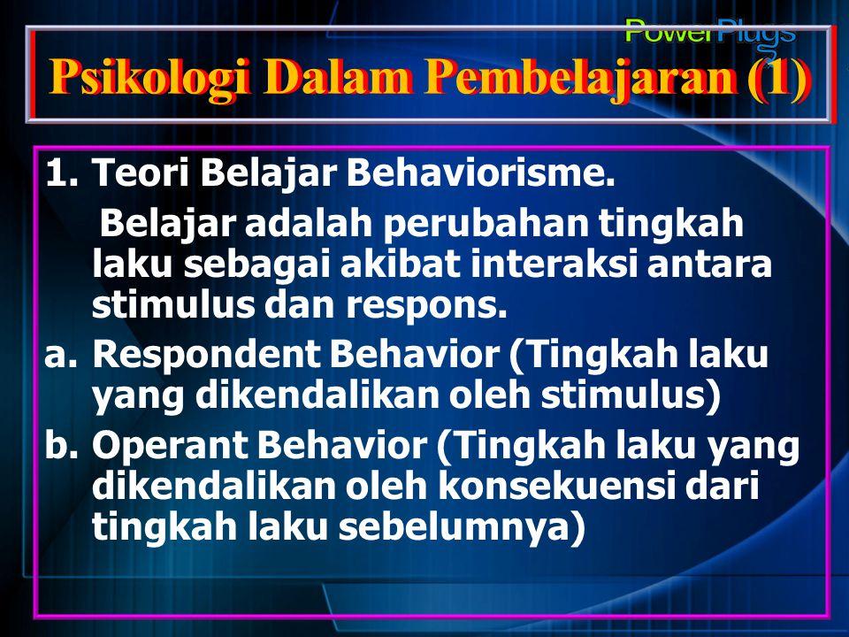 Psikologi Dalam Pembelajaran (1) 1.Teori Belajar Behaviorisme. Belajar adalah perubahan tingkah laku sebagai akibat interaksi antara stimulus dan resp