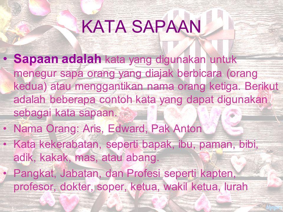 KATA SAPAAN Sapaan adalah kata yang digunakan untuk menegur sapa orang yang diajak berbicara (orang kedua) atau menggantikan nama orang ketiga. Beriku