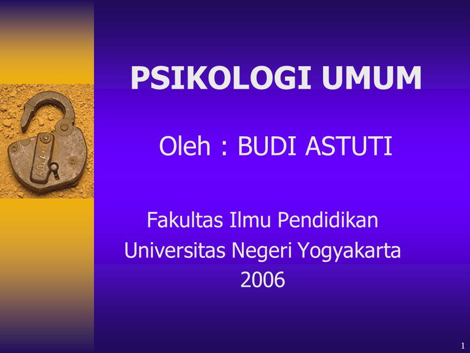 1 PSIKOLOGI UMUM Oleh : BUDI ASTUTI Fakultas Ilmu Pendidikan Universitas Negeri Yogyakarta 2006