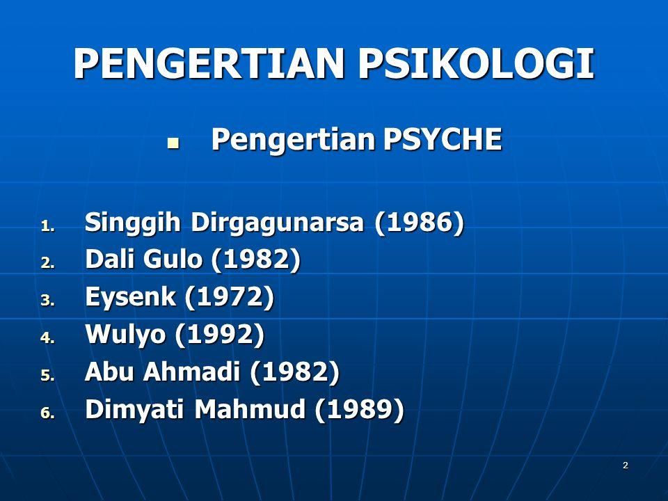 2 PENGERTIAN PSIKOLOGI Pengertian PSYCHE Pengertian PSYCHE 1. Singgih Dirgagunarsa (1986) 2. Dali Gulo (1982) 3. Eysenk (1972) 4. Wulyo (1992) 5. Abu
