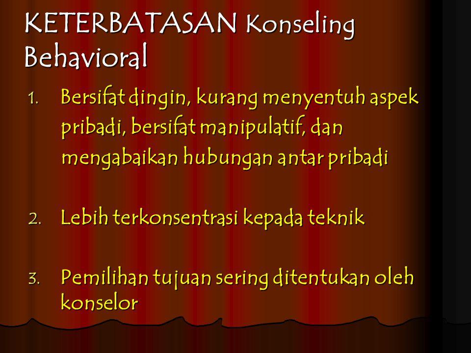 KETERBATASAN Konseling Behavioral 1.