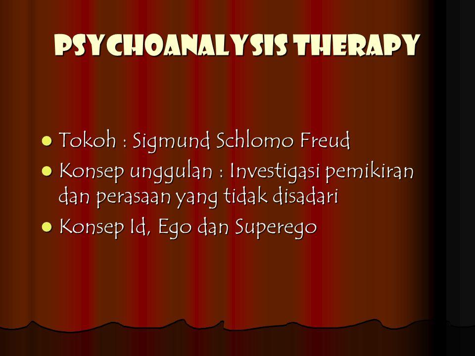 PSYCHOANALYSIS THERAPY Tokoh : Sigmund Schlomo Freud Konsep unggulan : Investigasi pemikiran dan perasaan yang tidak disadari Konsep Id, Ego dan Superego