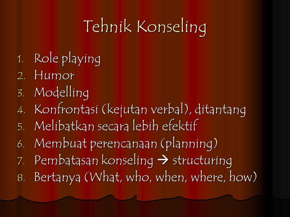 Tehnik Konseling 1.Role playing 2. Humor 3. Modelling 4.