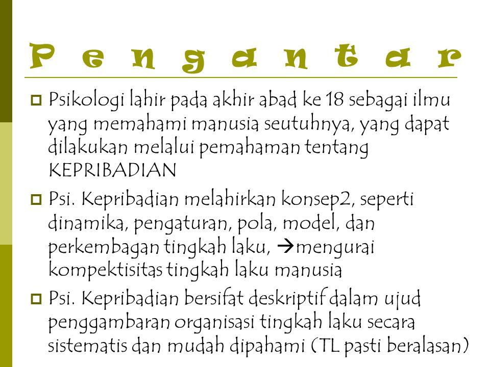 Paradigma Psikologi Kepribadian 3.Paradigma Kognitif  Fikiran dan keyakinan sso menjadi kunci memahami TL.