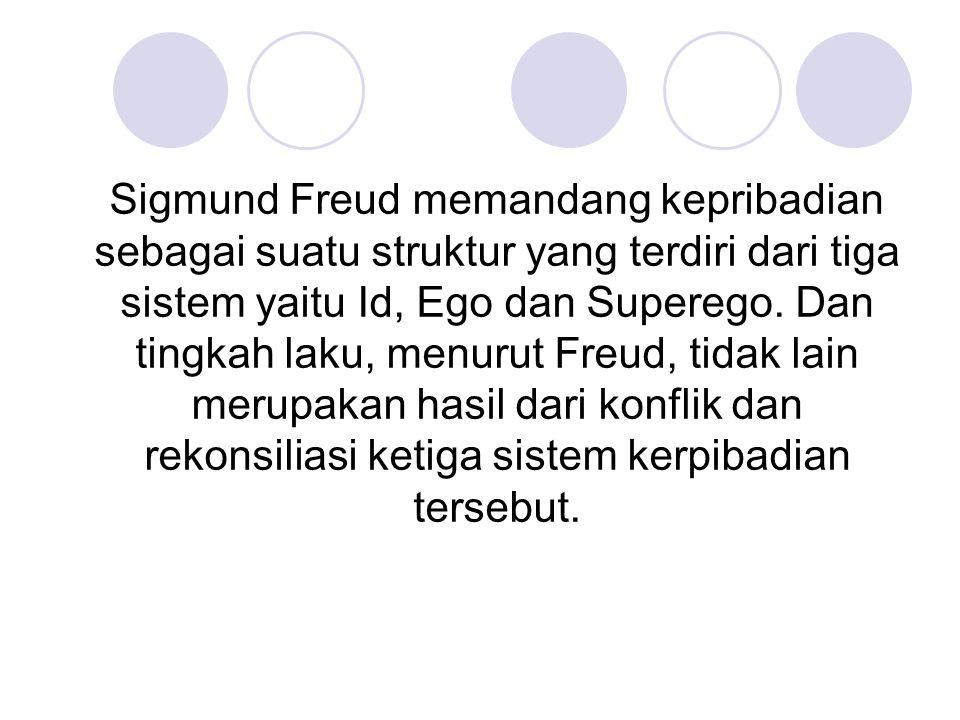 Sigmund Freud memandang kepribadian sebagai suatu struktur yang terdiri dari tiga sistem yaitu Id, Ego dan Superego. Dan tingkah laku, menurut Freud,