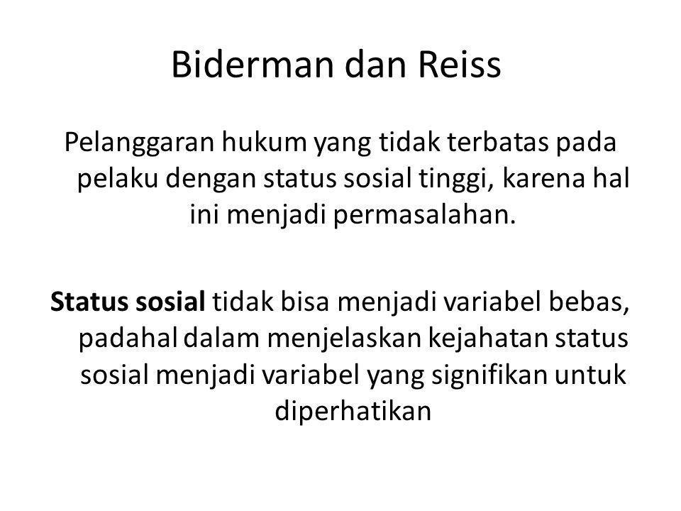 Biderman dan Reiss Pelanggaran hukum yang tidak terbatas pada pelaku dengan status sosial tinggi, karena hal ini menjadi permasalahan. Status sosial t