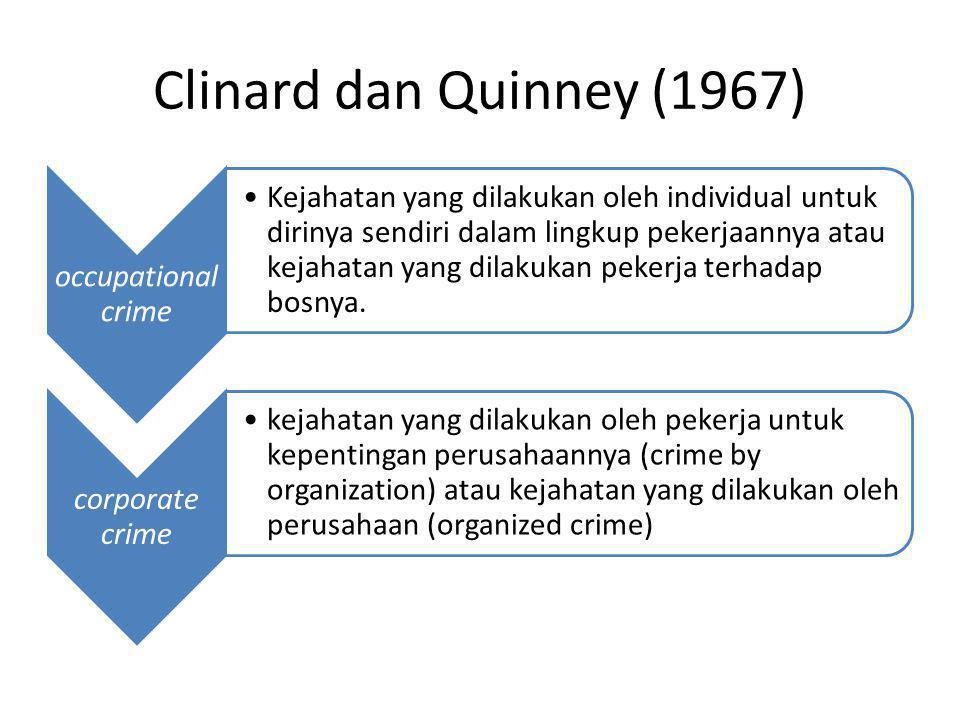 Clinard dan Quinney (1967) occupational crime Kejahatan yang dilakukan oleh individual untuk dirinya sendiri dalam lingkup pekerjaannya atau kejahatan