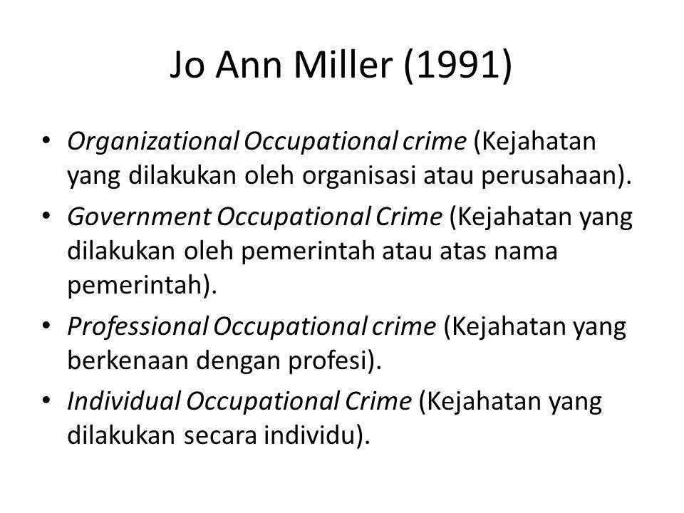Jo Ann Miller (1991) Organizational Occupational crime (Kejahatan yang dilakukan oleh organisasi atau perusahaan). Government Occupational Crime (Keja