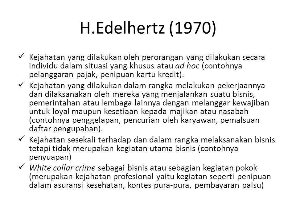 H.Edelhertz (1970) Kejahatan yang dilakukan oleh perorangan yang dilakukan secara individu dalam situasi yang khusus atau ad hoc (contohnya pelanggara