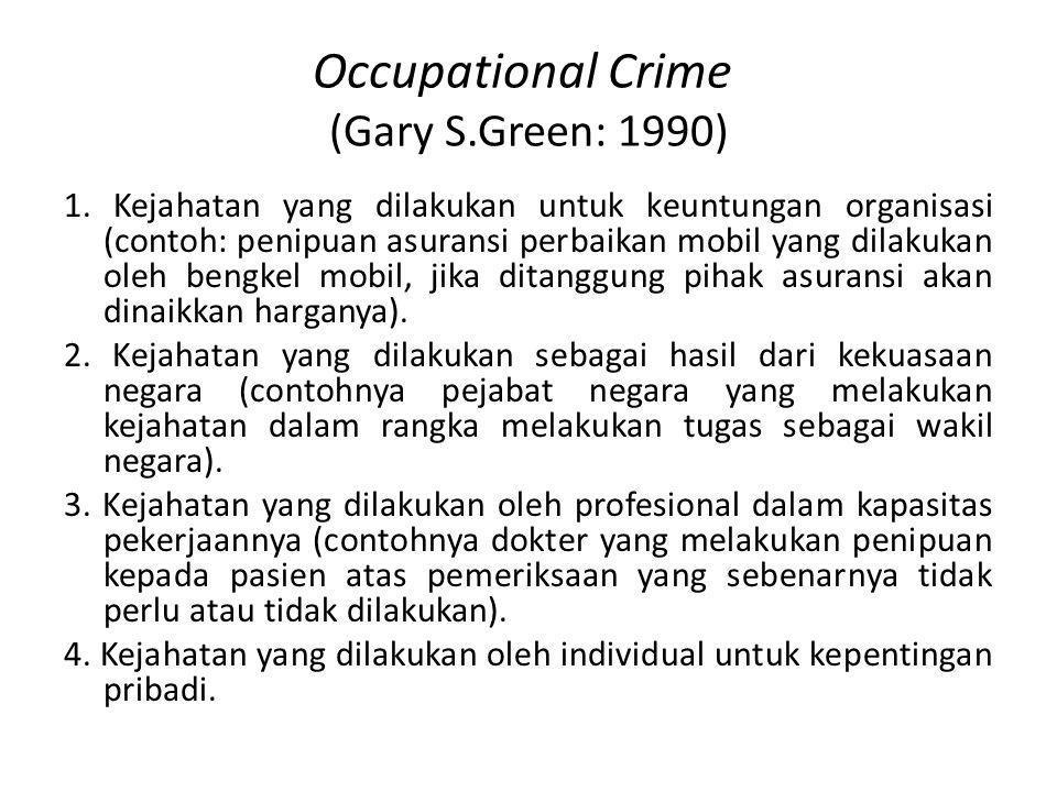 Occupational Crime (Gary S.Green: 1990) 1. Kejahatan yang dilakukan untuk keuntungan organisasi (contoh: penipuan asuransi perbaikan mobil yang dilaku