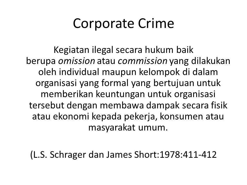 Corporate Crime Kegiatan ilegal secara hukum baik berupa omission atau commission yang dilakukan oleh individual maupun kelompok di dalam organisasi y