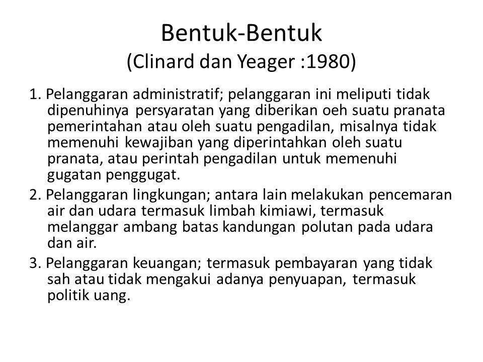 Bentuk-Bentuk (Clinard dan Yeager :1980) 1. Pelanggaran administratif; pelanggaran ini meliputi tidak dipenuhinya persyaratan yang diberikan oeh suatu