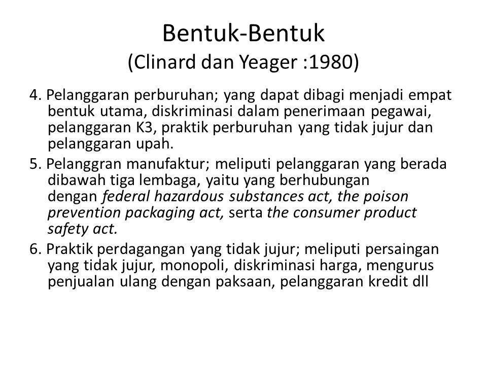 Bentuk-Bentuk (Clinard dan Yeager :1980) 4. Pelanggaran perburuhan; yang dapat dibagi menjadi empat bentuk utama, diskriminasi dalam penerimaan pegawa