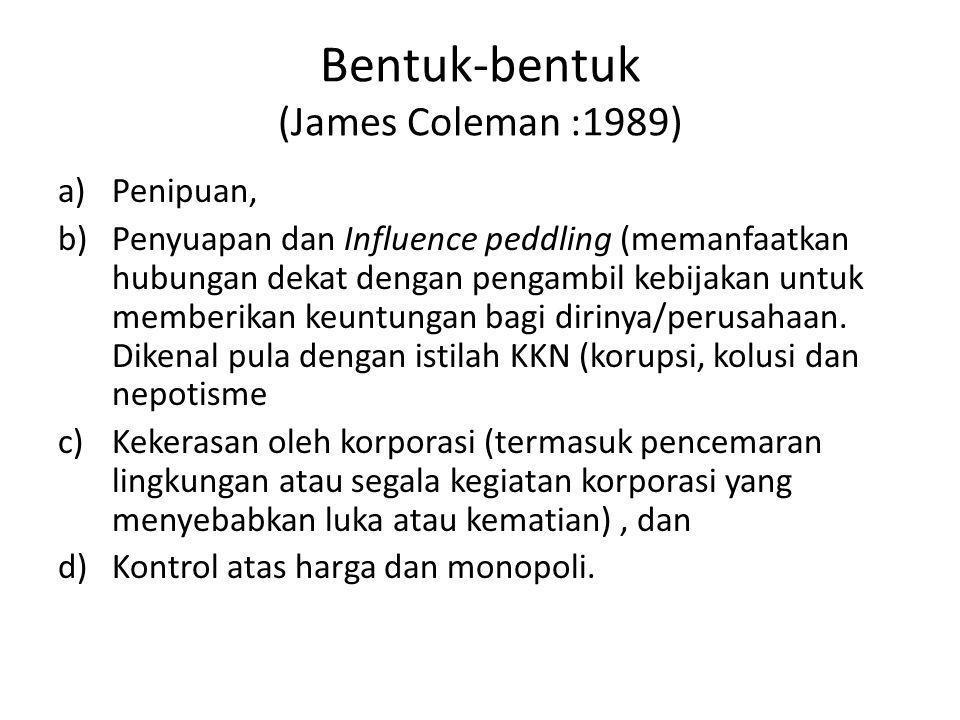 Bentuk-bentuk (James Coleman :1989) a)Penipuan, b)Penyuapan dan Influence peddling (memanfaatkan hubungan dekat dengan pengambil kebijakan untuk membe