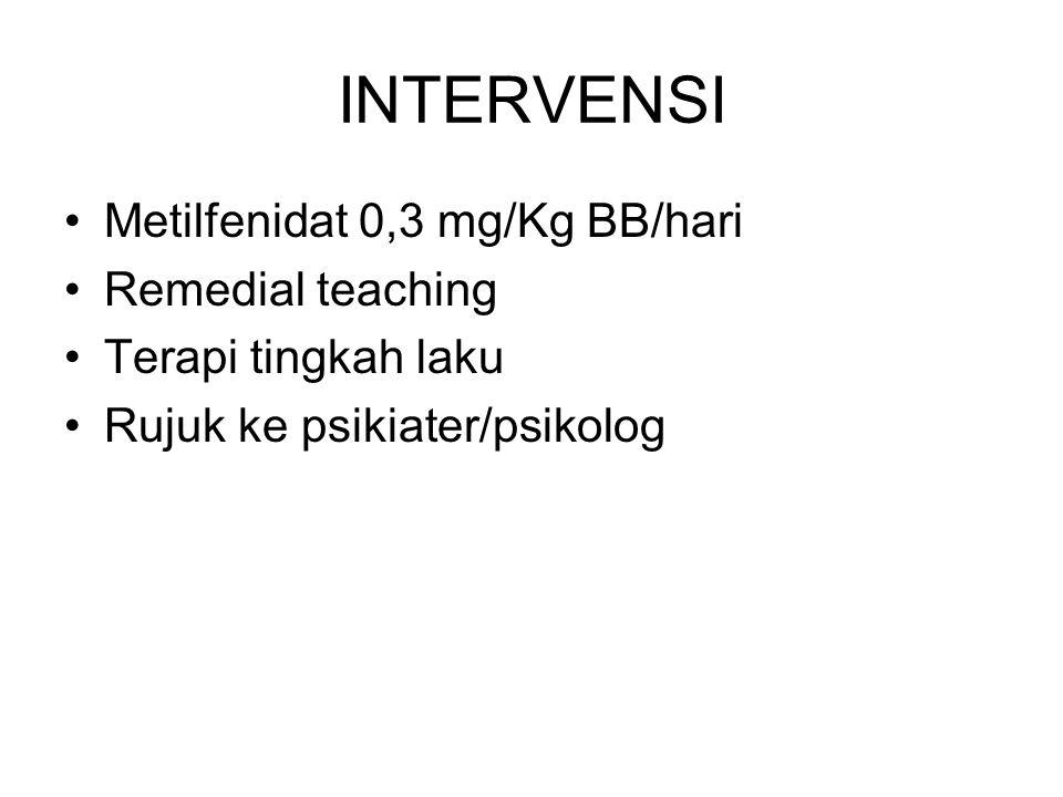 INTERVENSI Metilfenidat 0,3 mg/Kg BB/hari Remedial teaching Terapi tingkah laku Rujuk ke psikiater/psikolog
