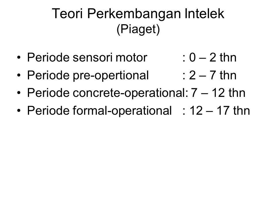 Teori Perkembangan Intelek (Piaget) Periode sensori motor: 0 – 2 thn Periode pre-opertional: 2 – 7 thn Periode concrete-operational: 7 – 12 thn Periode formal-operational: 12 – 17 thn