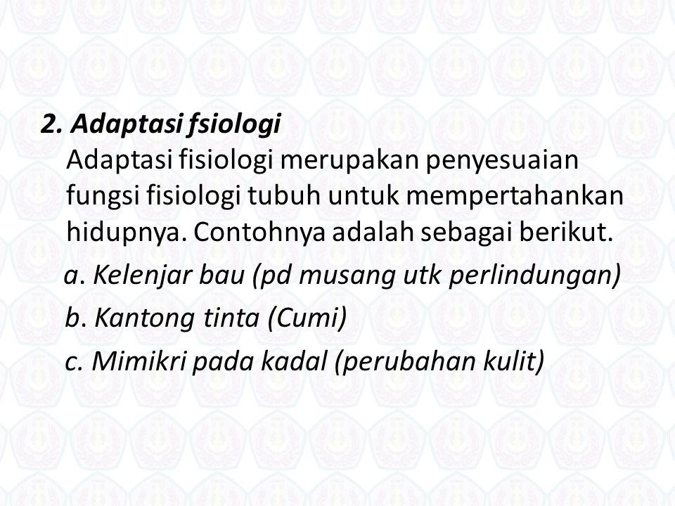 1. Adaptasi morfologi Adaptasi morfologi merupakan penyesuaian bentuk tubuh untuk kelangsungan hidupnya. Contoh adaptasi morfologi, antara lain sebaga