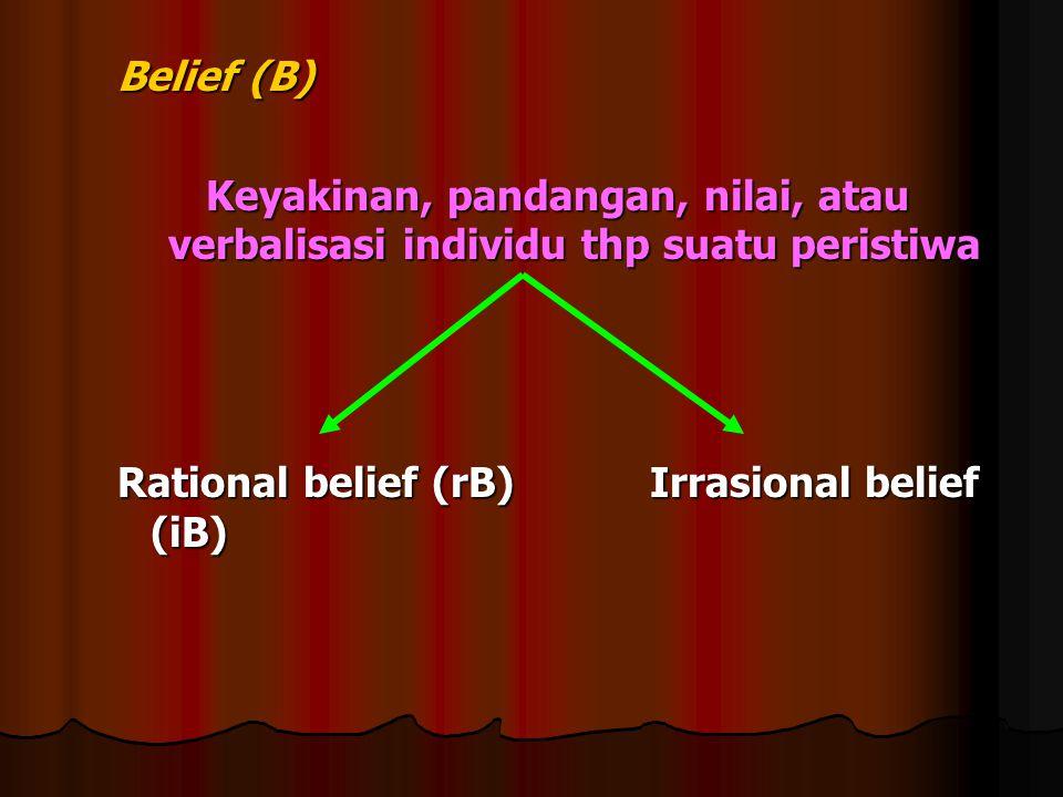 Belief (B) Keyakinan, pandangan, nilai, atau verbalisasi individu thp suatu peristiwa Rational belief (rB) Irrasional belief (iB)
