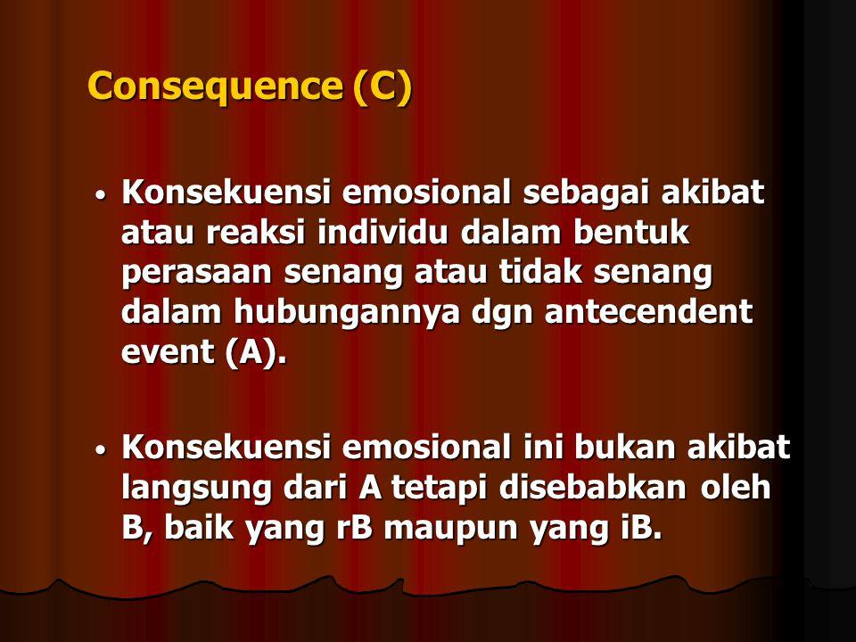 Consequence (C) Consequence (C) Konsekuensi emosional sebagai akibat atau reaksi individu dalam bentuk perasaan senang atau tidak senang dalam hubunga