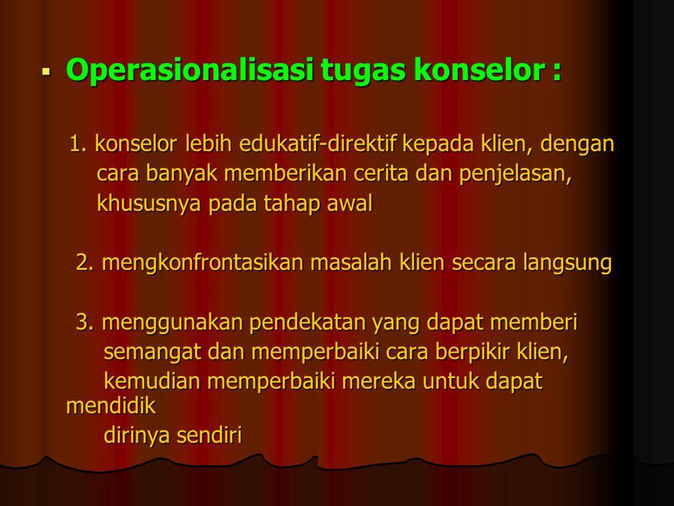  Operasionalisasi tugas konselor : 1. konselor lebih edukatif-direktif kepada klien, dengan 1. konselor lebih edukatif-direktif kepada klien, dengan