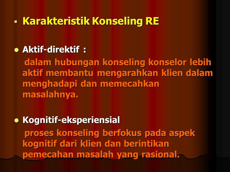  Karakteristik Konseling RE Aktif-direktif : Aktif-direktif : dalam hubungan konseling konselor lebih aktif membantu mengarahkan klien dalam menghada