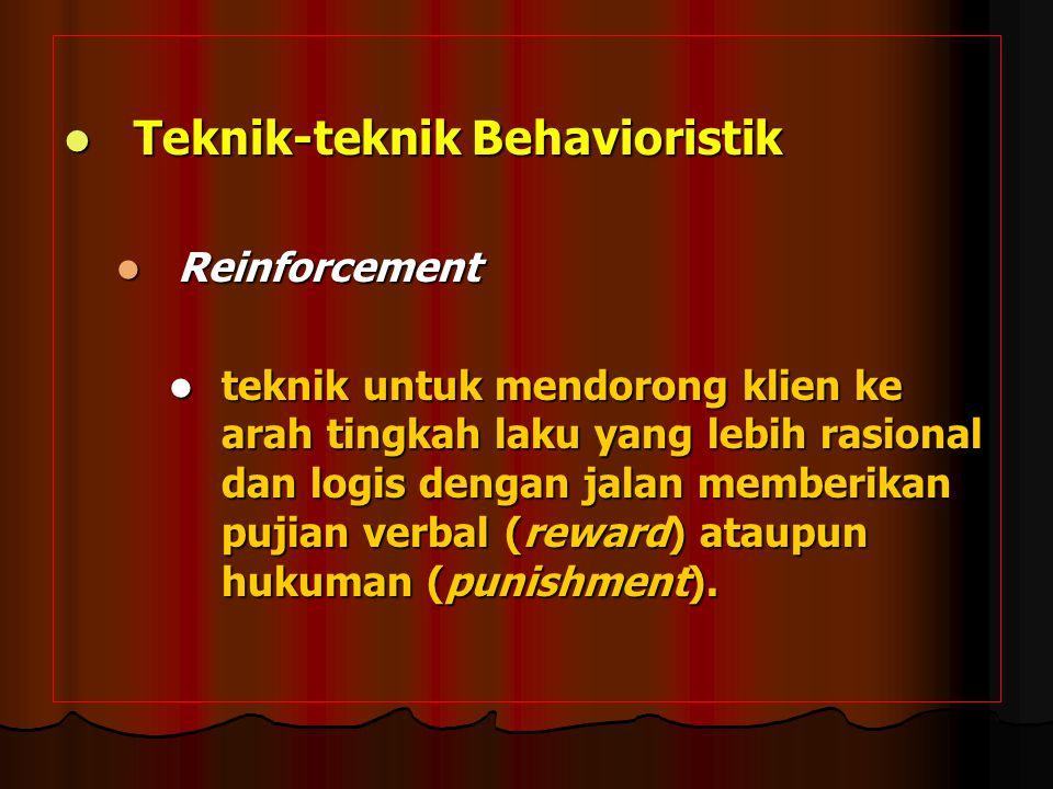 Teknik-teknik Behavioristik Teknik-teknik Behavioristik Reinforcement Reinforcement teknik untuk mendorong klien ke arah tingkah laku yang lebih rasio