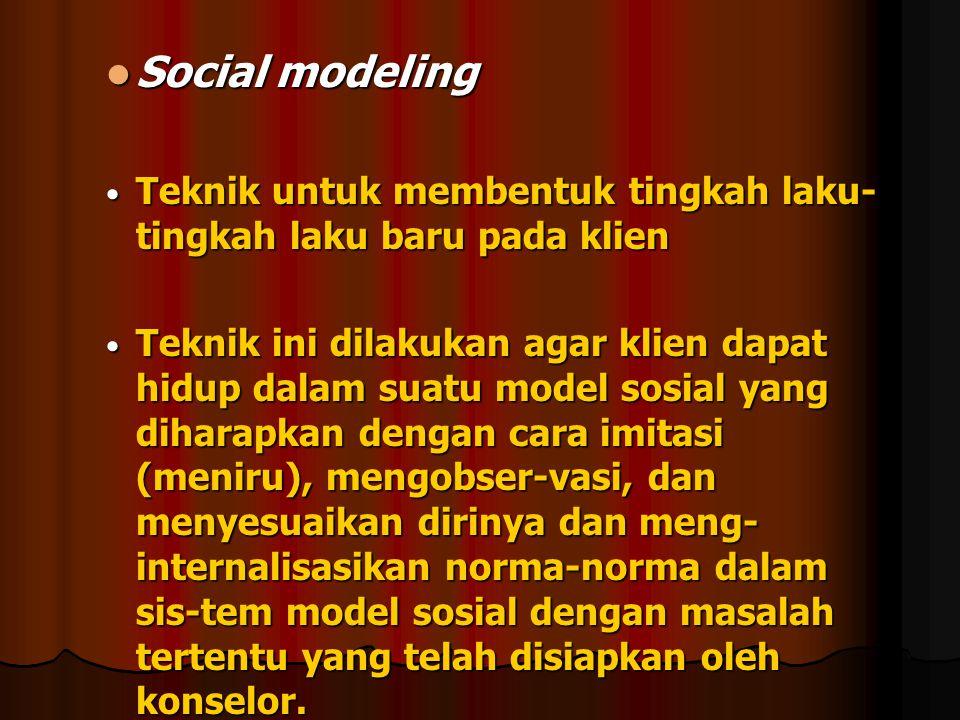 Social modeling Social modeling Teknik untuk membentuk tingkah laku- tingkah laku baru pada klien Teknik untuk membentuk tingkah laku- tingkah laku ba