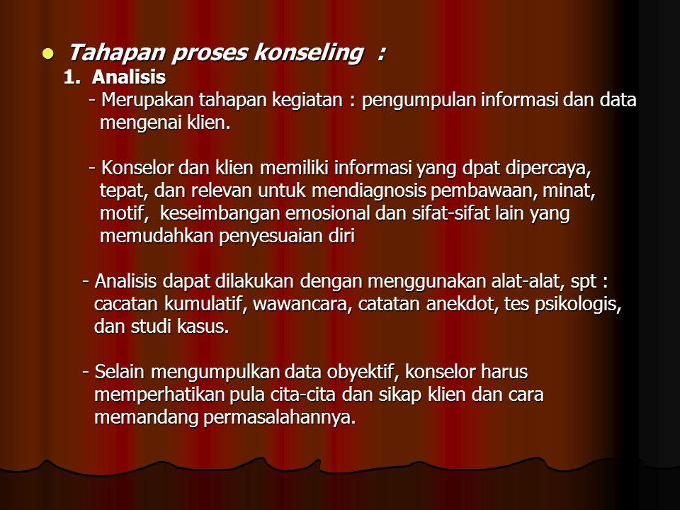 Tahapan proses konseling : Tahapan proses konseling : 1. Analisis 1. Analisis - Merupakan tahapan kegiatan : pengumpulan informasi dan data - Merupaka