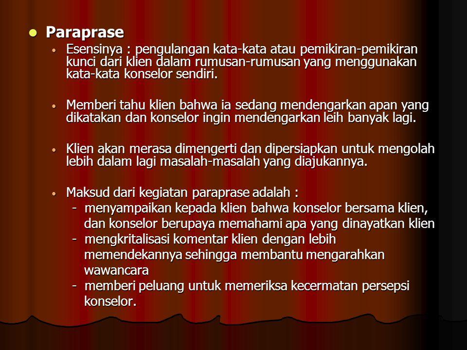Paraprase Paraprase Esensinya : pengulangan kata-kata atau pemikiran-pemikiran kunci dari klien dalam rumusan-rumusan yang menggunakan kata-kata konse