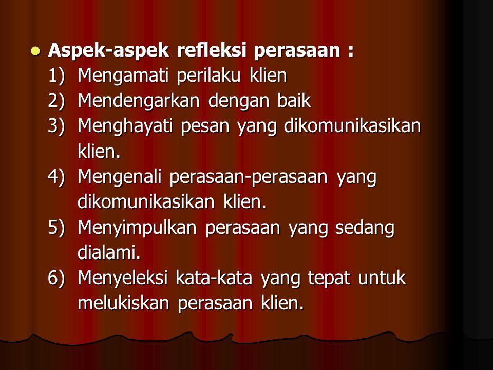 Aspek-aspek refleksi perasaan : Aspek-aspek refleksi perasaan : 1) Mengamati perilaku klien 1) Mengamati perilaku klien 2) Mendengarkan dengan baik 2)