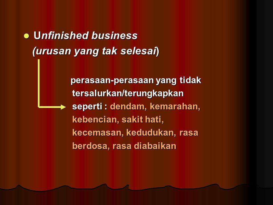 Unfinished business Unfinished business (urusan yang tak selesai) (urusan yang tak selesai) perasaan-perasaan yang tidak perasaan-perasaan yang tidak