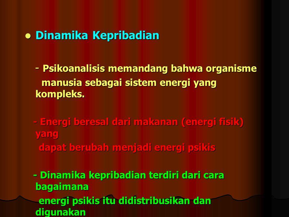 Dinamika Kepribadian Dinamika Kepribadian - Psikoanalisis memandang bahwa organisme - Psikoanalisis memandang bahwa organisme manusia sebagai sistem e