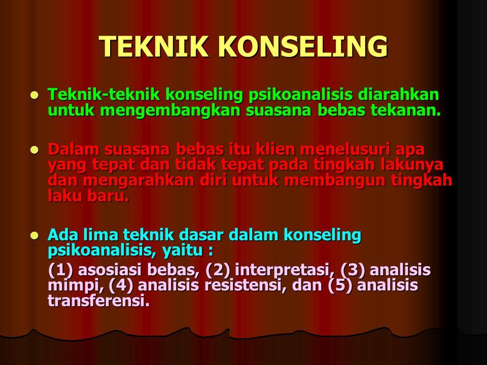 TEKNIK KONSELING Teknik-teknik konseling psikoanalisis diarahkan untuk mengembangkan suasana bebas tekanan. Teknik-teknik konseling psikoanalisis diar