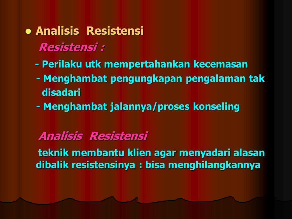 Analisis Resistensi Analisis Resistensi Resistensi : Resistensi : - Perilaku utk mempertahankan kecemasan - Perilaku utk mempertahankan kecemasan - Me