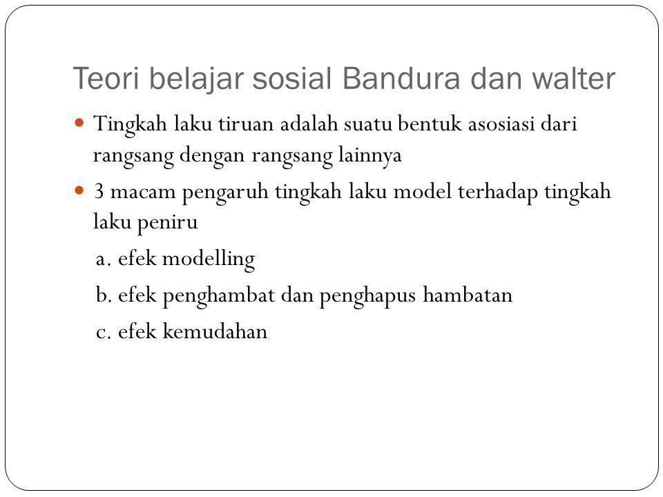 Teori belajar sosial Bandura dan walter Tingkah laku tiruan adalah suatu bentuk asosiasi dari rangsang dengan rangsang lainnya 3 macam pengaruh tingka