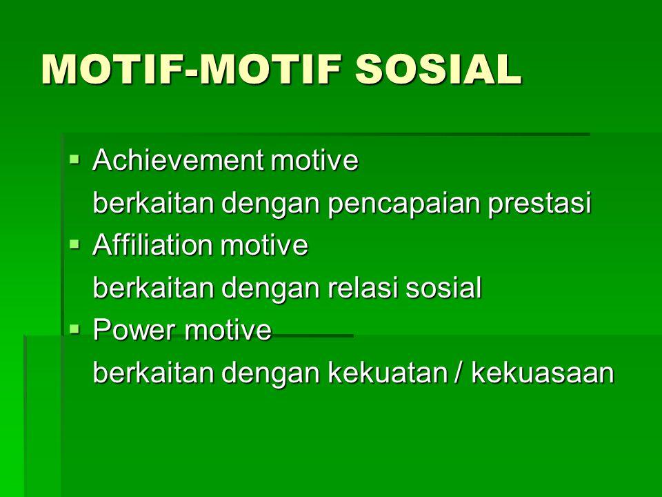 MOTIF-MOTIF SOSIAL  Achievement motive berkaitan dengan pencapaian prestasi  Affiliation motive berkaitan dengan relasi sosial  Power motive berkai