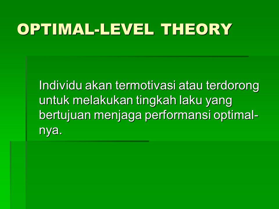 OPTIMAL-LEVEL THEORY Individu akan termotivasi atau terdorong untuk melakukan tingkah laku yang bertujuan menjaga performansi optimal- nya.