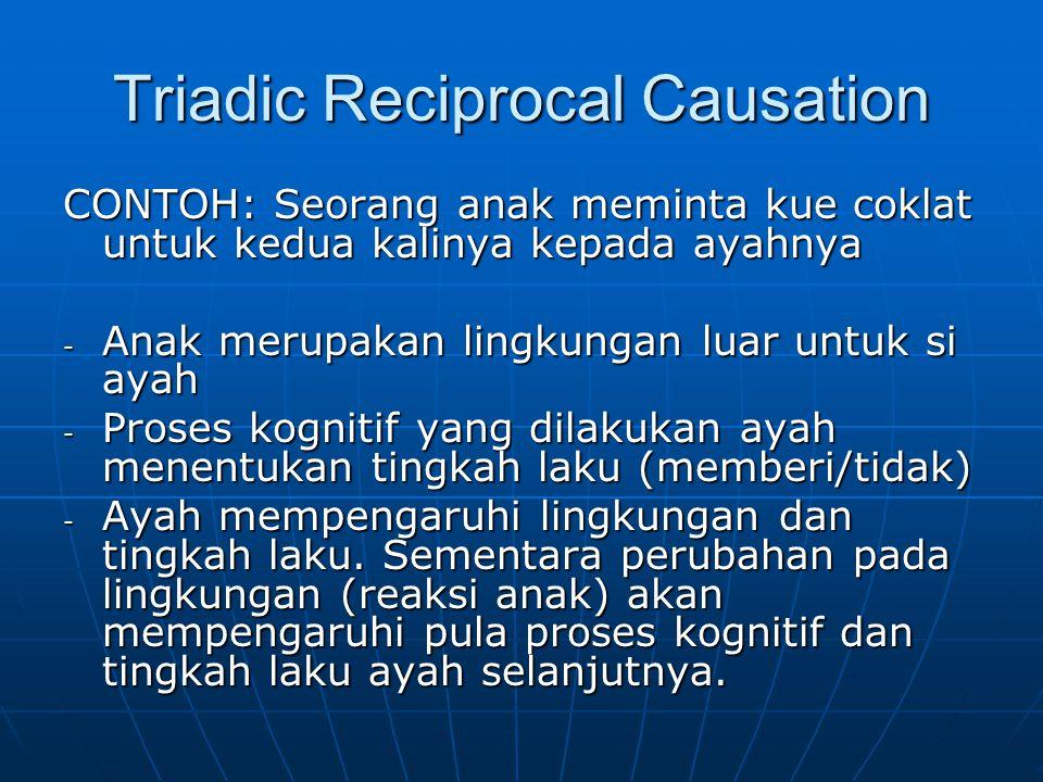 Triadic Reciprocal Causation CONTOH: Seorang anak meminta kue coklat untuk kedua kalinya kepada ayahnya - Anak merupakan lingkungan luar untuk si ayah
