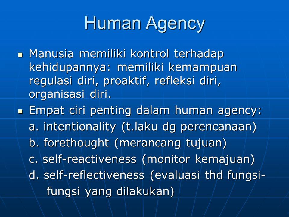 Human Agency Manusia memiliki kontrol terhadap kehidupannya: memiliki kemampuan regulasi diri, proaktif, refleksi diri, organisasi diri. Manusia memil