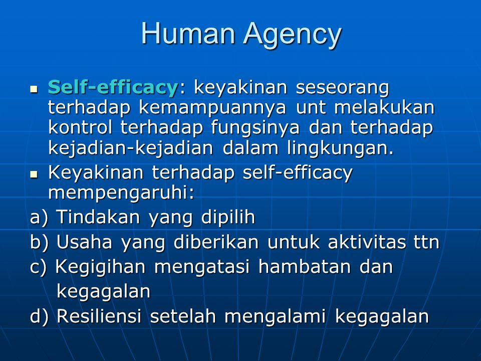 Human Agency Self-efficacy: keyakinan seseorang terhadap kemampuannya unt melakukan kontrol terhadap fungsinya dan terhadap kejadian-kejadian dalam li