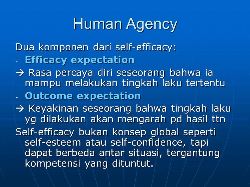 Human Agency Dua komponen dari self-efficacy: - Efficacy expectation  Rasa percaya diri seseorang bahwa ia mampu melakukan tingkah laku tertentu - Ou