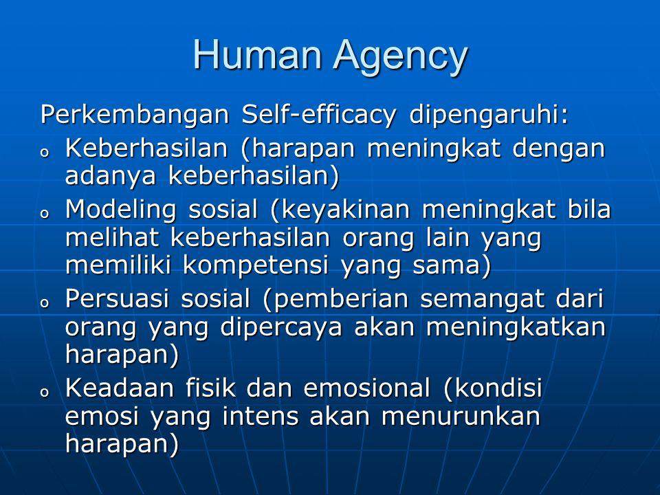 Human Agency Perkembangan Self-efficacy dipengaruhi: o Keberhasilan (harapan meningkat dengan adanya keberhasilan) o Modeling sosial (keyakinan mening
