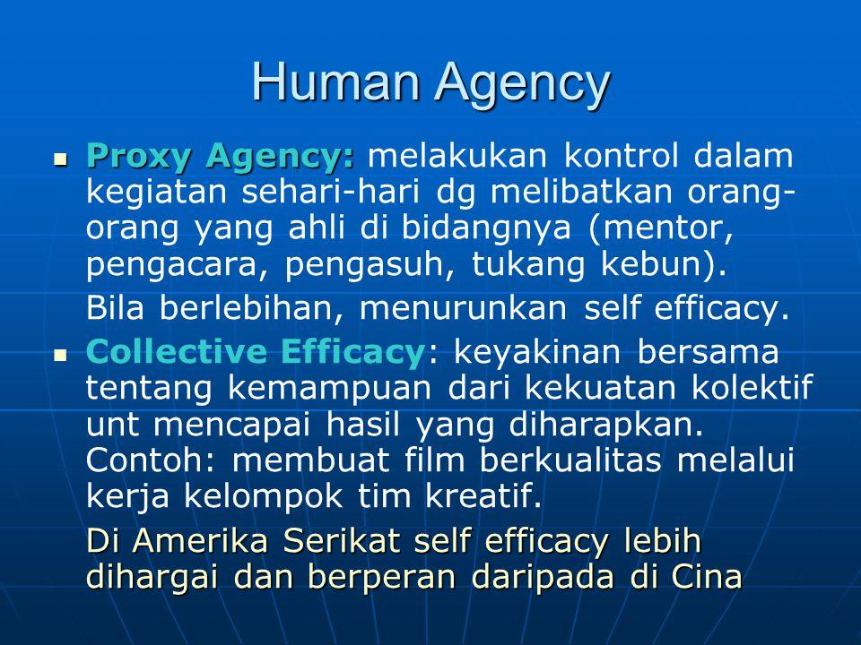 Human Agency Proxy Agency: Proxy Agency: melakukan kontrol dalam kegiatan sehari-hari dg melibatkan orang- orang yang ahli di bidangnya (mentor, penga