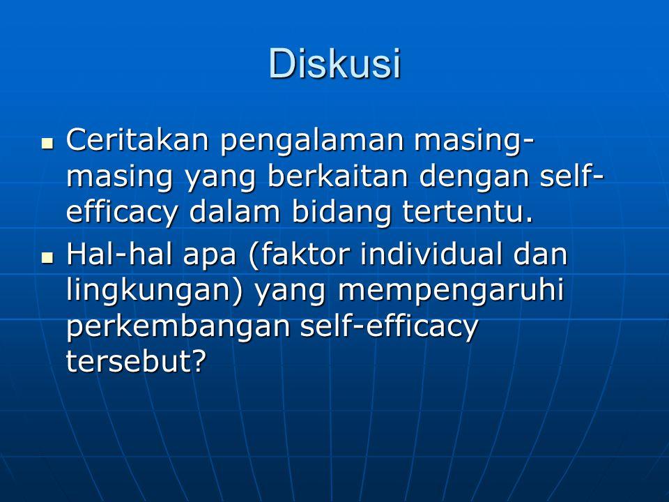 Diskusi Ceritakan pengalaman masing- masing yang berkaitan dengan self- efficacy dalam bidang tertentu. Ceritakan pengalaman masing- masing yang berka