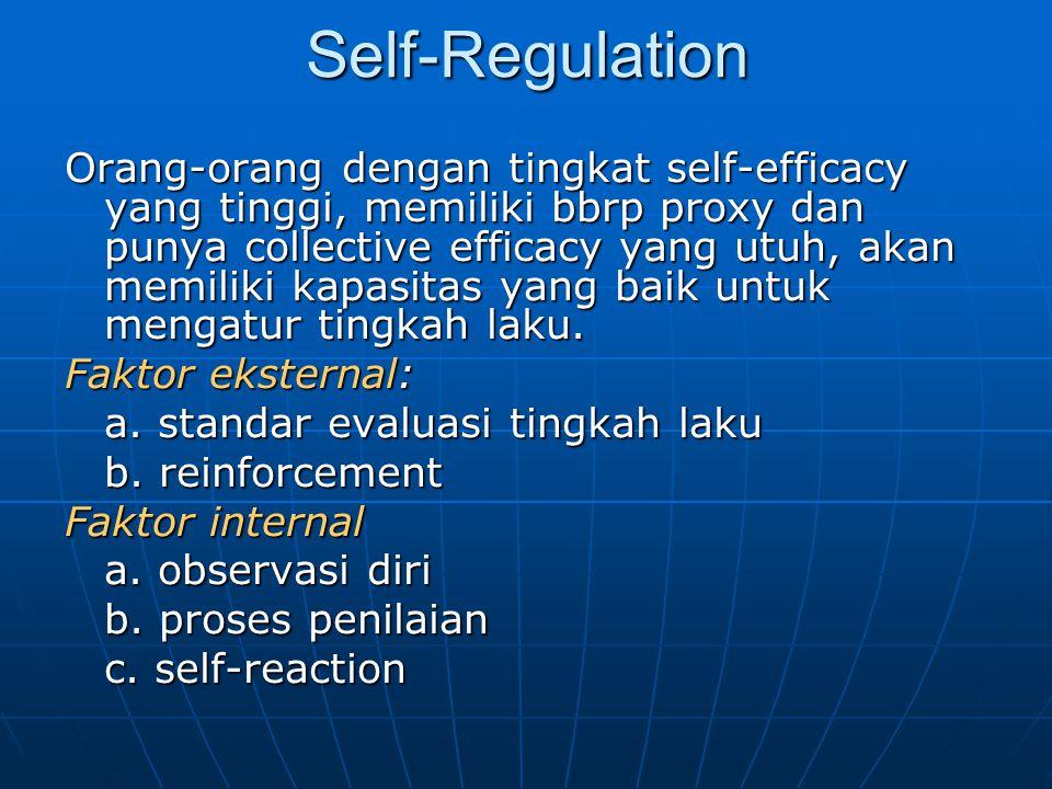 Self-Regulation Orang-orang dengan tingkat self-efficacy yang tinggi, memiliki bbrp proxy dan punya collective efficacy yang utuh, akan memiliki kapas
