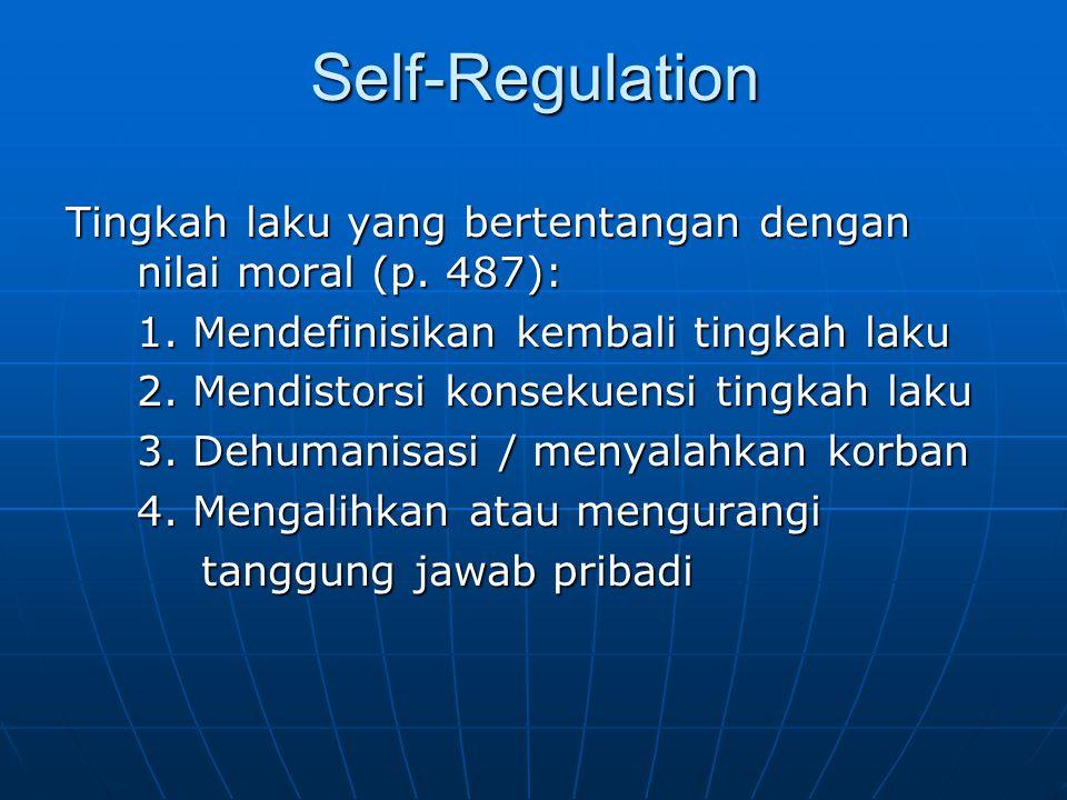 Self-Regulation Tingkah laku yang bertentangan dengan nilai moral (p. 487): 1. Mendefinisikan kembali tingkah laku 2. Mendistorsi konsekuensi tingkah