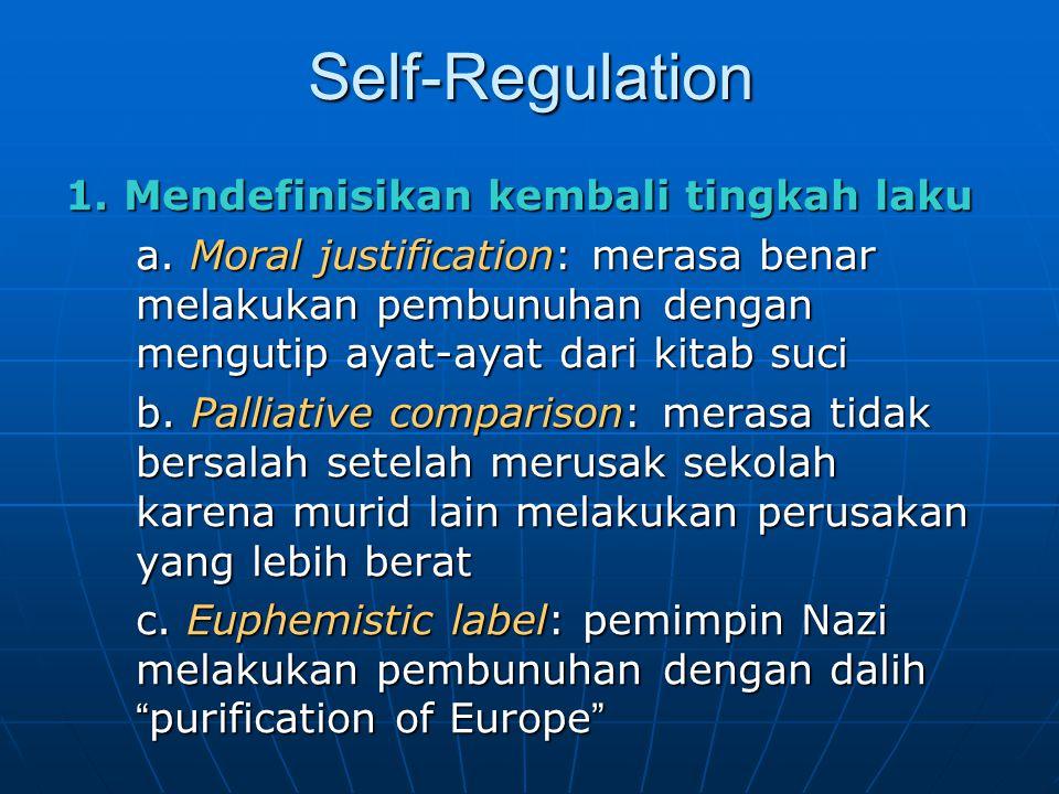 Self-Regulation 1. Mendefinisikan kembali tingkah laku a. Moral justification: merasa benar melakukan pembunuhan dengan mengutip ayat-ayat dari kitab