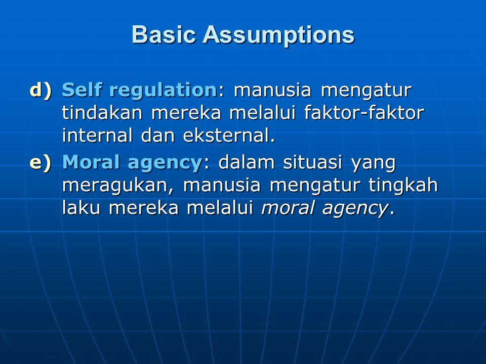 Basic Assumptions d)Self regulation: manusia mengatur tindakan mereka melalui faktor-faktor internal dan eksternal. e)Moral agency: dalam situasi yang