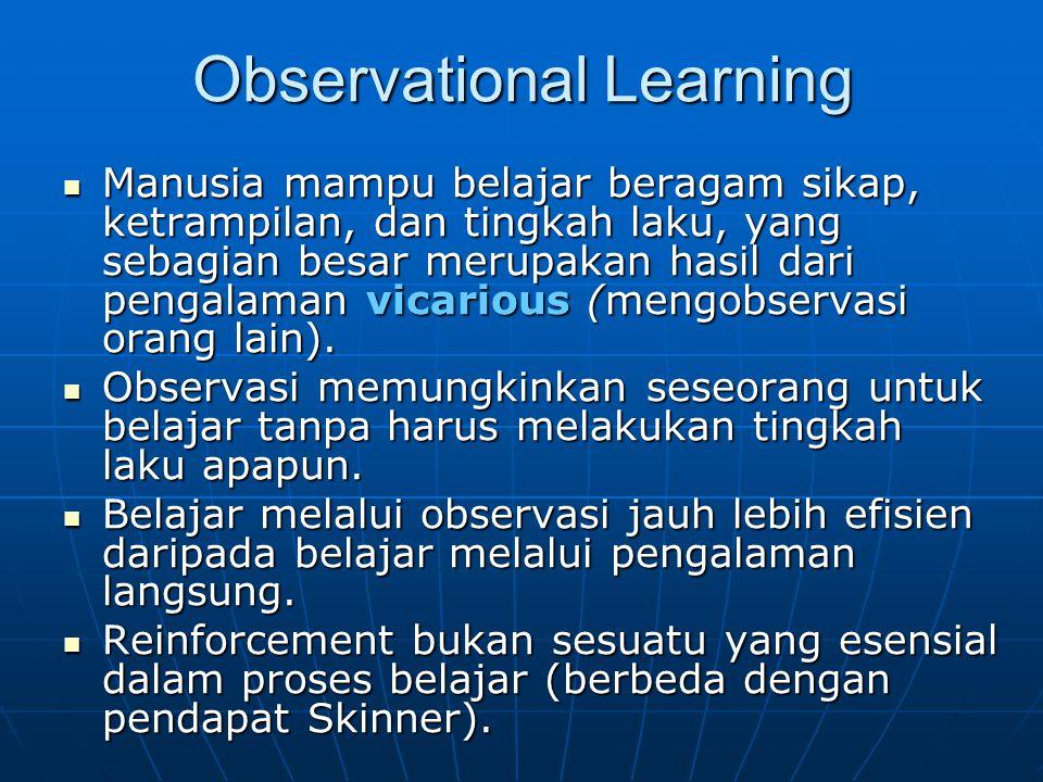 Observational Learning Manusia mampu belajar beragam sikap, ketrampilan, dan tingkah laku, yang sebagian besar merupakan hasil dari pengalaman vicario
